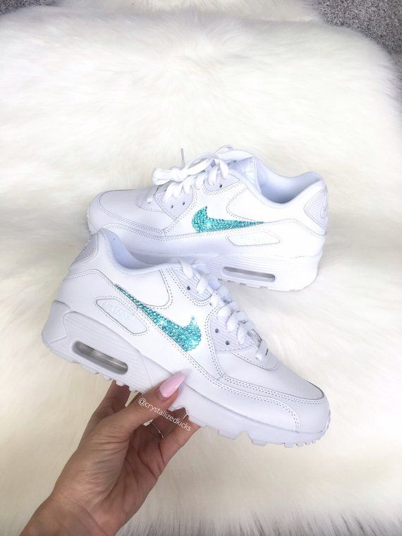 separation shoes 5c9b3 38be5 Nike Air Max 90 White Shoes Made with SWAROVSKI® Crystals - White Cool  Grey White   Leather in 2019   glitter Nike   Nike air max, Nike shoes,  Shoes