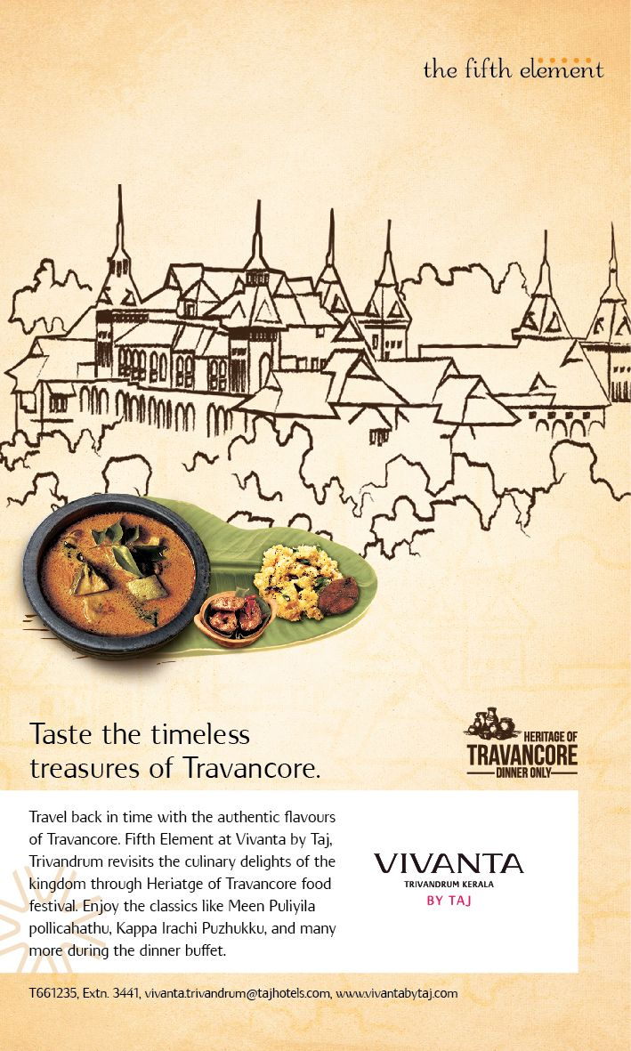 A spread to celebrate the timeless Travancore!  Feast on some of the best culinary delights from 17th - 30th August, at the Fifth Element, Vivanta by Taj- Trivandrum. #VivantabyTaj #Vivanta #Trivandrum #Heritage #Buffet