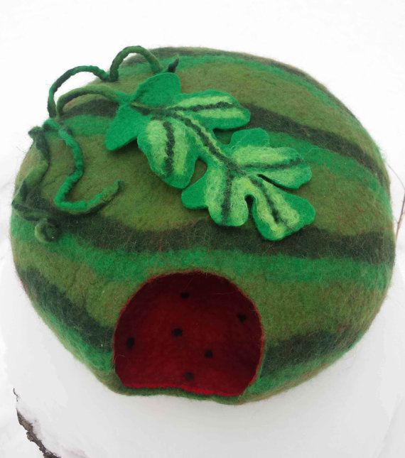 Your cat likes to hide? She liked the house made of natural wool. Lightweight, soft and cozy.   Author's design to fit your interior and surprise your guests. This is comfort and convenience for cats, reliability and beauty to the host. The dwelling is made from beginning to end by hand.   Cats love felt. Your pet will like it!   And if you have a friend - the owner of the cat, then this house is a wonderful gift, original and unique!