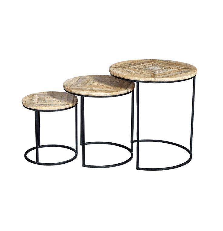 Mesas anidadas redondas de madera y hierro envejecido