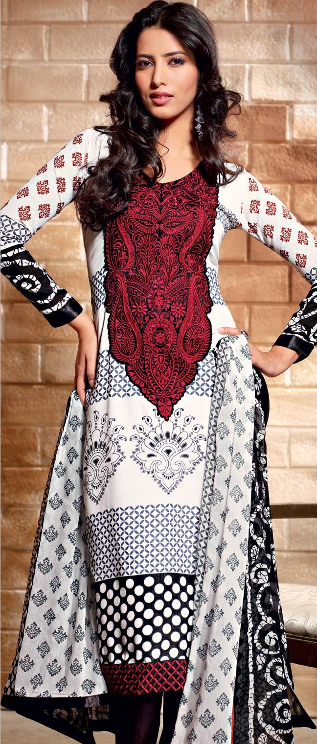 Off #White and #Black Faux Crepe #Churidar Kameez @ $ 50.19