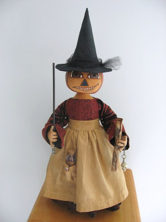 Halloween Pumpkin Witch Doll Decoration One by ArtfullyHandcrafted
