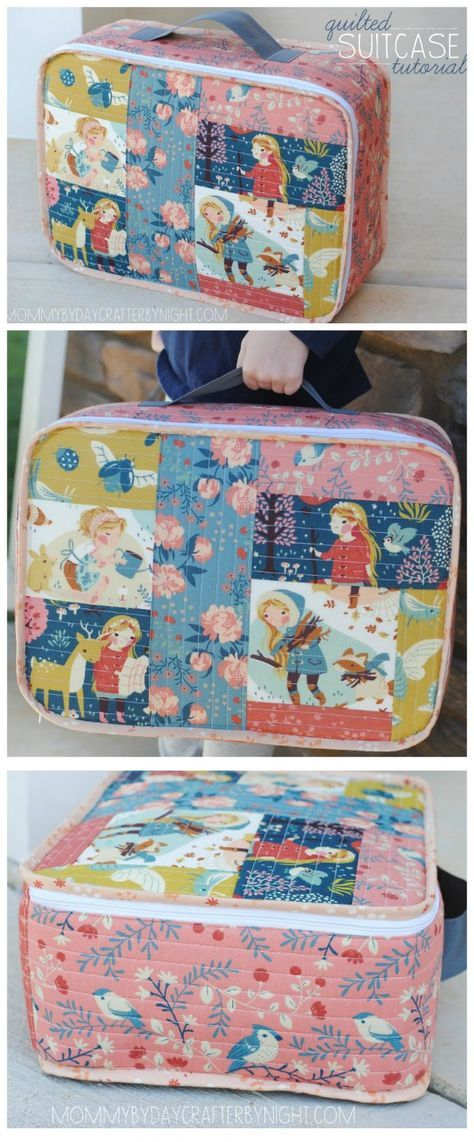 Amazing! Free sewing pattern and full picture tutorial on how to make this cute mini-suitcase. My daughters love them and are happy to carry their own luggage when we go on vacation now. Highly recommended.