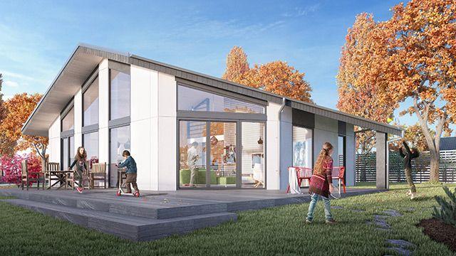 Hus H2   Boyta: 150 m²   Antal rum: 4-5   Ytterväggsmått: 13,6m × 12,5m  MYCKET LJUS OCH SPÄNNANDE ARKITEKTUR Ett hus med stora fönster och spännande arkitektur. Huset är utformat med öppen planlösning för kök, vardagsrum samt matplats. På entréplanet finns det plats för tre till fyra rum samt ett till två badrum,