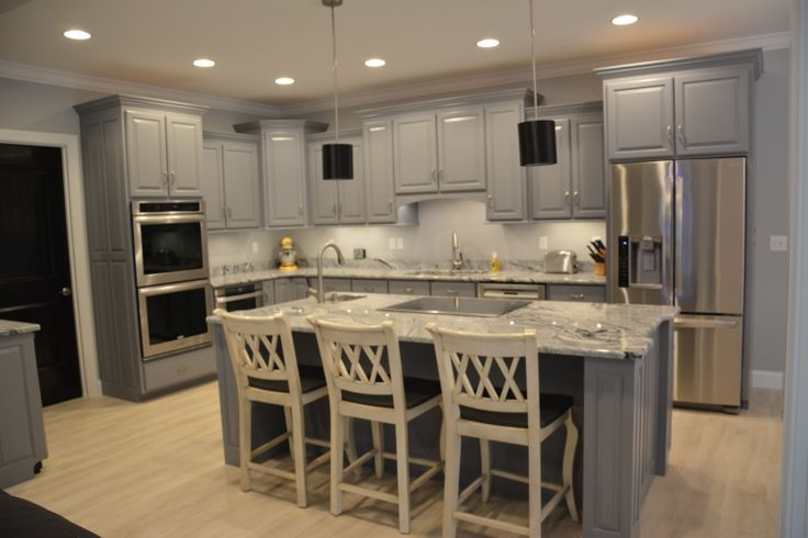Our Kitchen With Grey Cabinets Viscon White Granite And