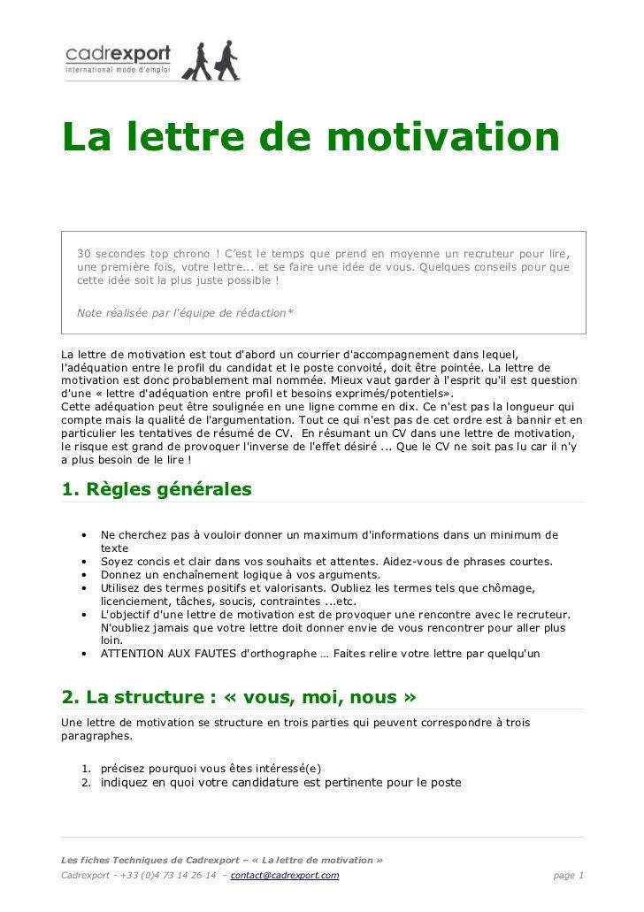 1000 ideas about lettre motivation on