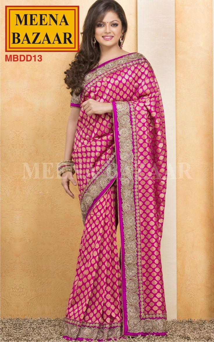 Kundan Work Saree on Banarasi by Meena Bazaar