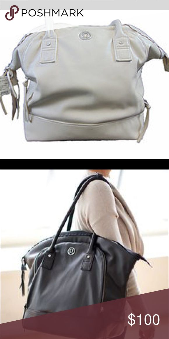 White lululemon bag! Great for travel or the gym!! Black bag is a stock photo - white is the color of my bag. Ivory / beige. So many pockets!! And a drawstring bag for dirty clothes or shoes. A tablet/small laptop padded pocket too. lululemon athletica Bags