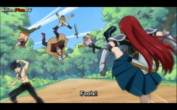 """Erza is kicking these guys who tried to grab Gray because they thought he was """"cute"""".  Erza calls them fools.  I find this grayza ish.  No one else took action to stop these guys from advancing Gray except Erza.  And the fact that she is that angry mark on her head proves she isn't too thrilled.  Is it a sign of jealousy?  It could be."""