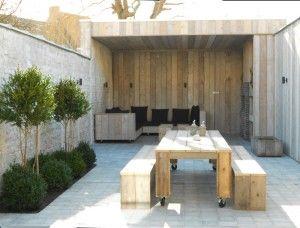 Tuin met overdekte lounge vakantiehuis 12 14 personen Pannenstraat 104 | ZaligAanZee.be