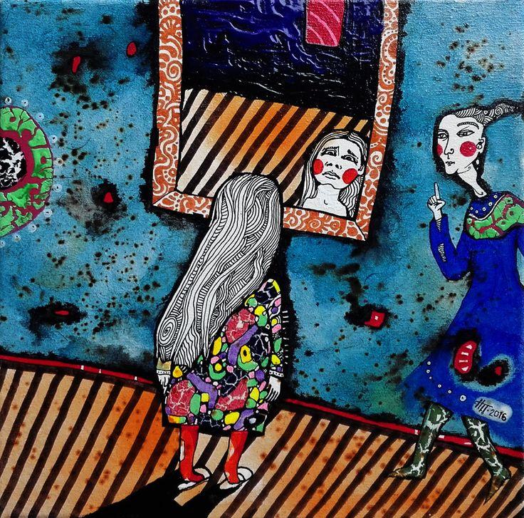"""""""Девушка и зеркало"""" 20х20. Работа художника Наталии Пастушенко, авторская техника на холсте. Контакт с автором по вопросам приобретения прав на публикацию или покупки оригиналов - pastuszenko@gmail.com"""