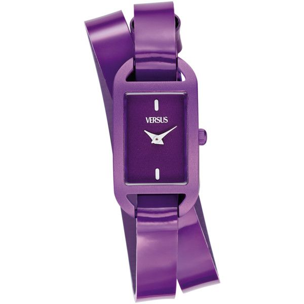 Versus Versus: Ibiza Women's Purple Watch (391202001) (£68) ❤ liked on Polyvore featuring jewelry, watches, purple, rectangular dial watches, rectangular watches, versus watches, purple jewelry and water resistant watches