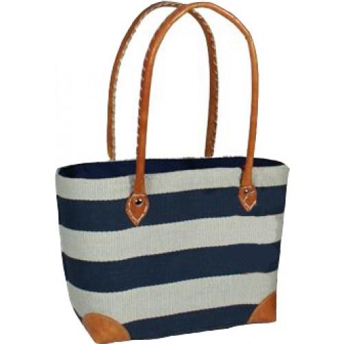 Blue Striped Basket Bag | Beach chic | Pinterest