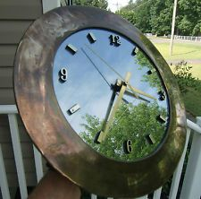GOLDTONE  Metal Wall Clock Mirrored Face Battery Operated For Parts or Repair