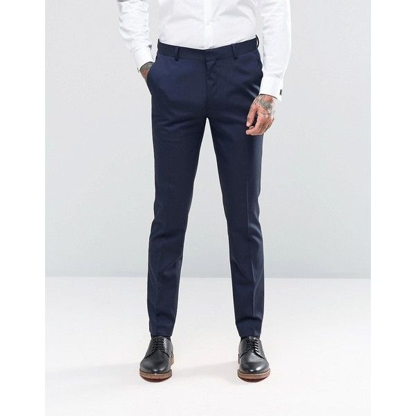 ASOS Skinny Suit Trousers In Navy ($32) ❤ liked on Polyvore featuring men's fashion, men's clothing, men's pants, men's dress pants, navy, mens skinny dress pants, mens skinny pants, mens stretch pants, mens woven pants and mens navy dress pants