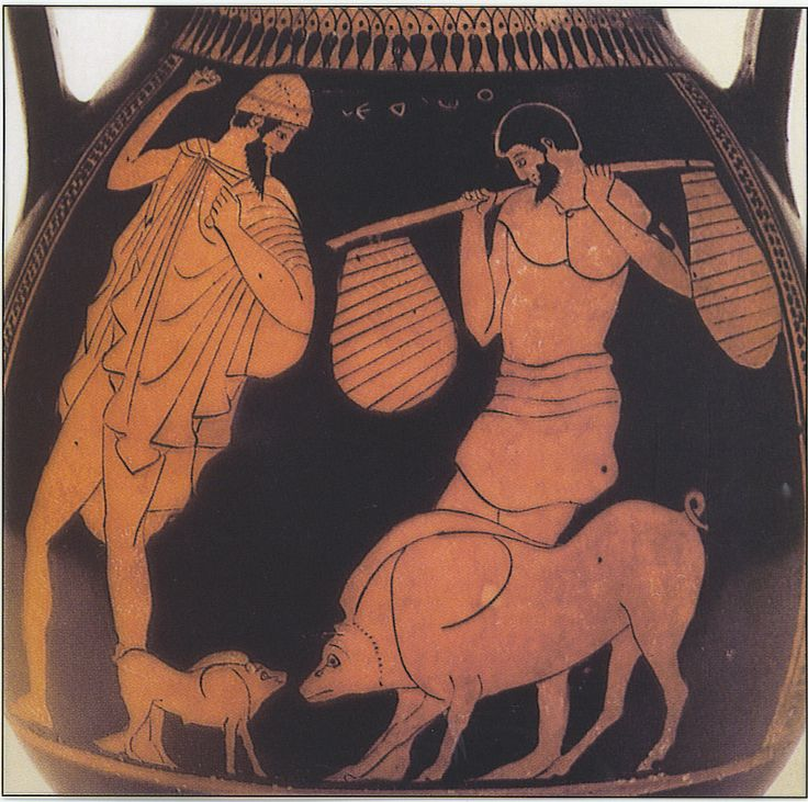 Image result for ancient GReek vase odysseus and eumaeus