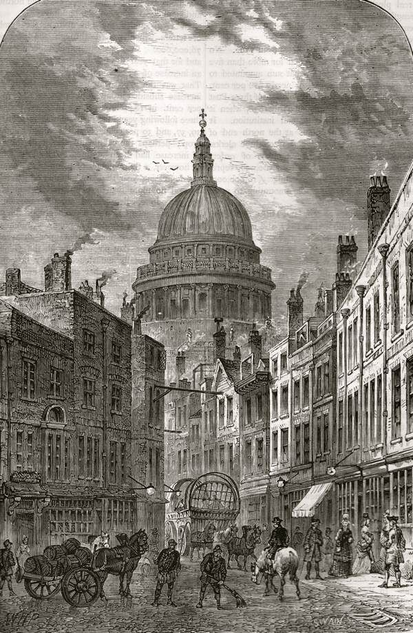 London as it was, St Paul's from St Martin's-le-Grand, 1760