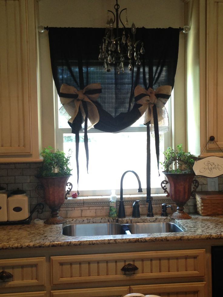 Kitchen curtains burlap ideas for my ideal home for Kitchen valance ideas pinterest