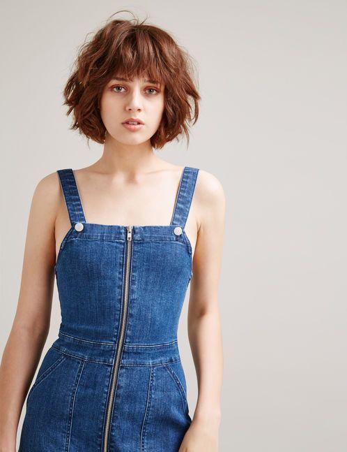 robe salopette en jean medium blue