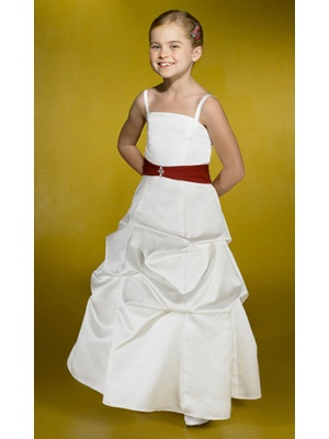 A-Line Ball Gown Princess Off the Shoulder Square Ankle-Length Satin Flower Girl Dress