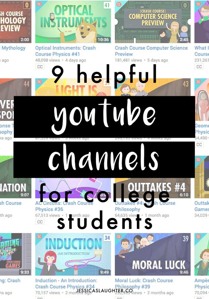 helpful youtube channels for college students | jessica slaughter