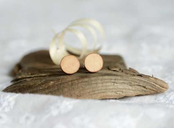 Tiny wood ear studs natural wood earrings tree by MyPieceOfWood