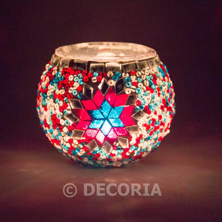Candle Holder - Turquoise & Red - DECORIA HOME & GIFT