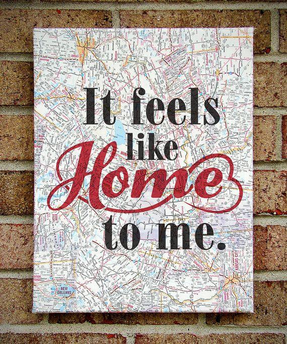 It Feels Like Home to Me- Canvas Art on Sheet Music OR Vintage Map - Chantal Kreviazuk - Lyrics Art