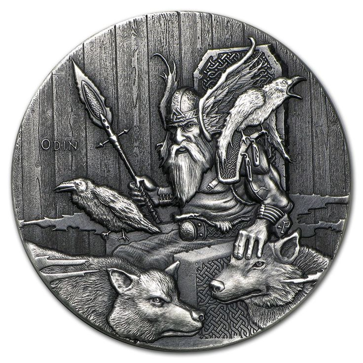Reverse of the Odin coin of the Scottsdale Mint's APMEXclusive® 15-Coin series Vikings: Gods, Kings and Warriors. 2 oz of .999 fine Silver. One-eyed Odin (O.N. Óðinn), gripping his spear Gungnir and wearing a helm depicting the so-called valknut, in the wooden-slat hall Valaskialf and enthroned on Hlidskjalf, mist shrouded, flanked by his ravens Huginn and Muninn, and his wolves Geri and Freki. Obverse: Raphael Maklouf's likeness of Her Majesty Queen Elizabeth II.