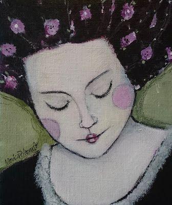 Monica Blom Art: En liten bestämd dam i akryl 22 x 19 I made up my mind