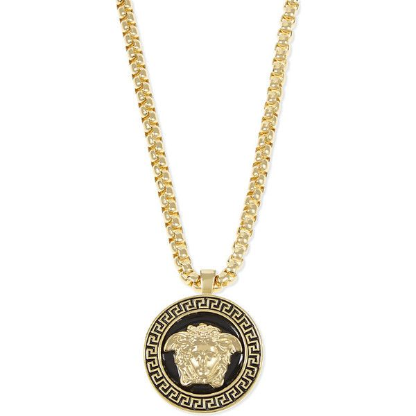 Versace Medusa pendant necklace ($530) ❤ liked on Polyvore featuring men's fashion, men's jewelry, men's necklaces, mens gold chain necklace, mens gold necklace, mens box chain necklace, mens pendant necklace and versace mens necklace