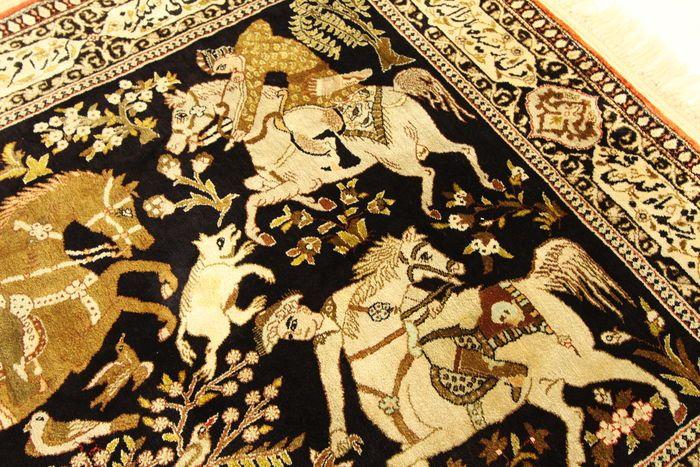 Semi-antieke Qom zijden tapijt Perzisch tapijt echte zijde jacht motief 1.76 x 1.04 zeldzaamheid collector's tapijt  EUR 1.00  Meer informatie