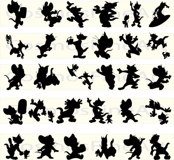 Tom and Jerry silhouette digital clipart, 30 PNG, 30 JPG, Instant download,
