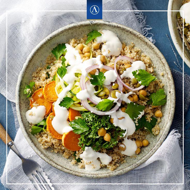 Whole Food Lunch Bowl with Fetta Yoghurt  #vegetarianrecipes #easyrecipes #Lemnos #Fetta #Haloumi #Mediterranean