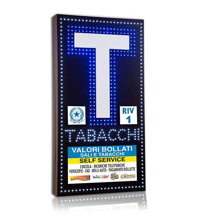 Insegna Bifacciale a LED per Tabacchi. Formato cm 50*95.