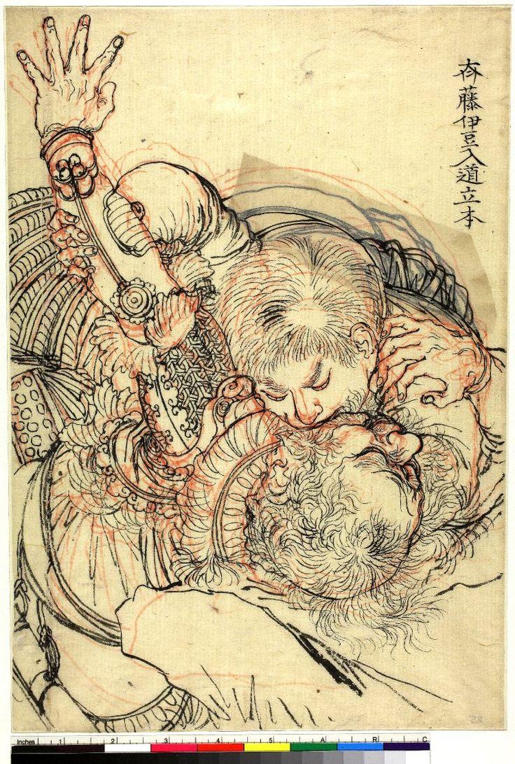 """月岡 芳年 Tsukioka Yoshitoshi (1839–1892) 斉藤伊豆入道立本 Saitō Itō Nyūdō Toshimoto biting an opponent 版下絵 preparatory drawing for colour woodblock print British Museum """""""