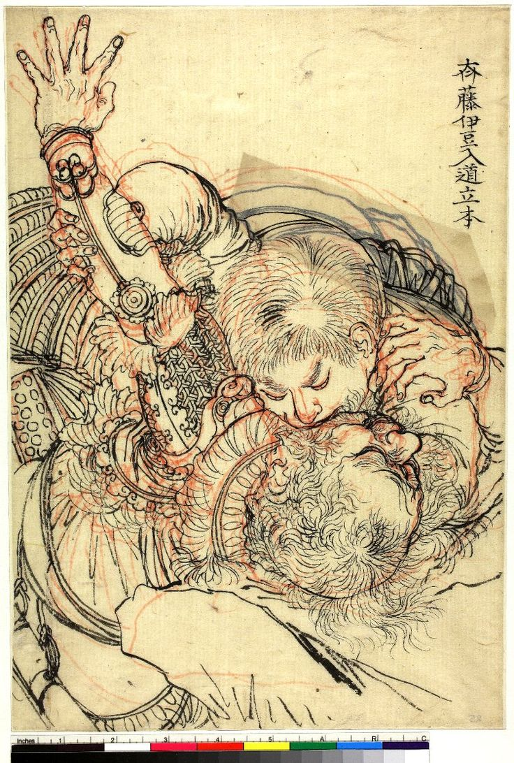 月岡 芳年 Tsukioka Yoshitoshi (1839–1892) 斉藤伊豆入道立本 Saitō Itō Nyūdō Toshimoto biting an opponent 版下絵 preparatory drawing for colour woodblock print British Museum ""