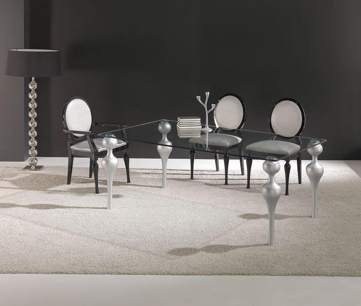 mesa de cristal patas torneadas 160x100/75