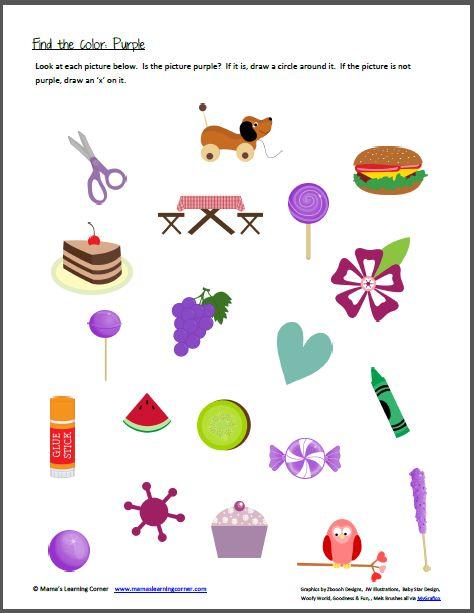 color preschool theme color recognition find the color purple the color 712