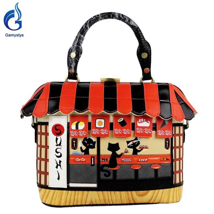 Cut cat house Handbag Sushi Style Retro Handmade Bolsa Feminina PU  For cartoon