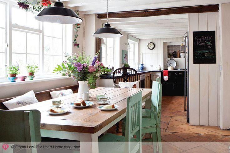 Busy weekend - desiretoinspire.net - large farm table off of kitchen
