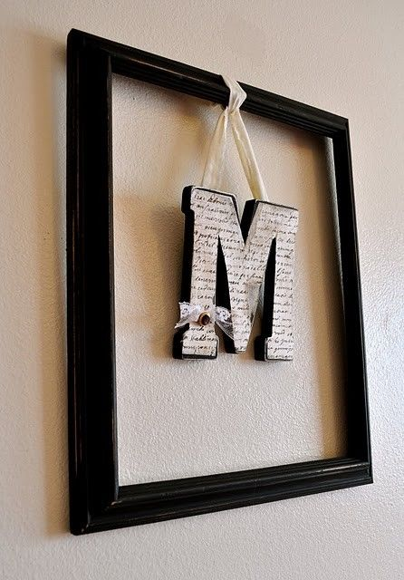 Who knew picture frames could be so charming? Dangling your initials adds for a modern twist on home decor.