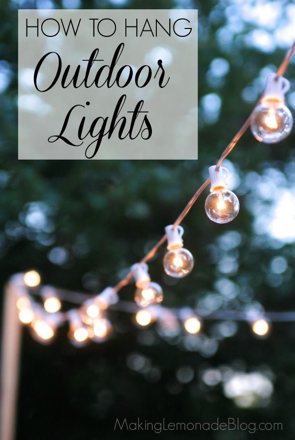 How to hang outdoor lights WITHOUT walls! What an easy and inexpensive way to add magic to your deck or patio.