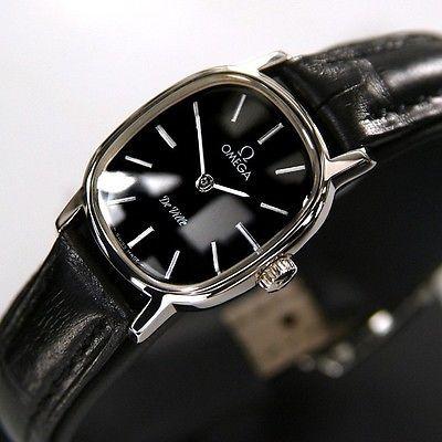Omega DE VILLE Ladies Manual Winding Cal 625 Black Dial Swiss Antique Watches