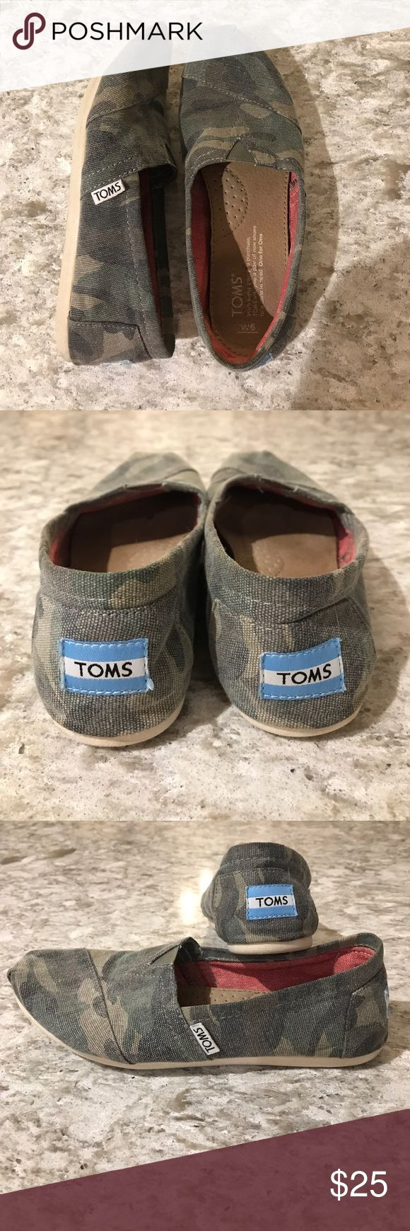 Toms camo slip ons Gently worn camouflage Toms slip on Toms Shoes Flats & Loafers