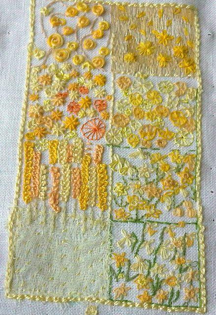 yellow sampler: Crafts Ideas, Embroidery, Yellow Baby, Embroidery Wannabe, Needlework, Yellow Sampler, Mellow Yellow, Needle Work, Fiber Art