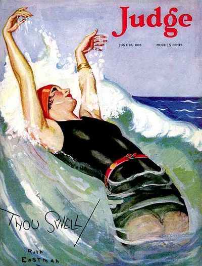 Judge Magazine  1928 vintage Ruth Eastman cover ~ young woman swimming in ocean