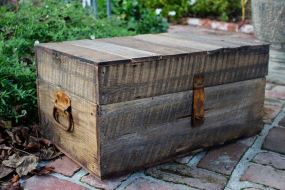 Wooden Trunk,  Handmade, Rustic furniture, chest, Home Decor, Wood, honeystreasures, coffee table, woodworking, craftsman, original, rustic, wood, reclaimed wood, coffee table, small apartment, storage, trunk, rusty hinges
