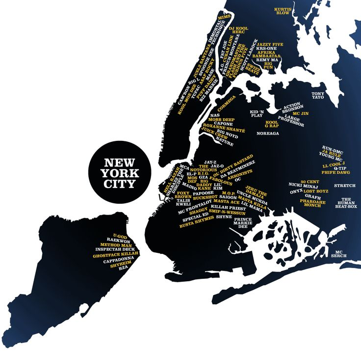 New York City Mapped by Rap Artist Origins