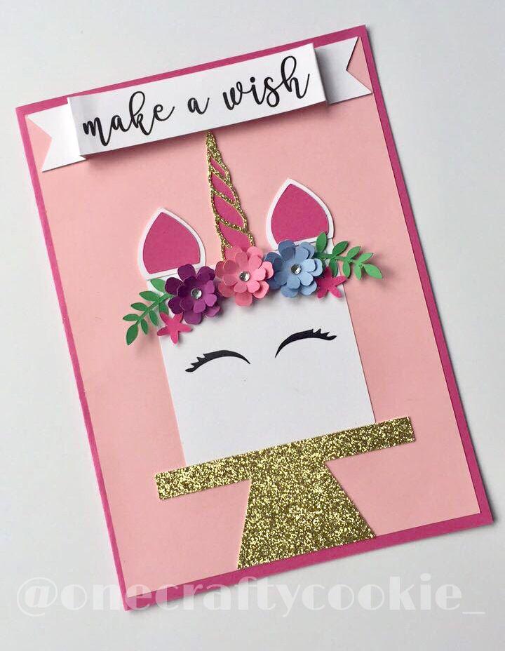 Unicorn Birthday Card Unicornparty Unicorn Unicorncake Unicorninvitation Invite Pinkandgold Unicorn Birthday Cards Birthday Cards Diy Cool Birthday Cards